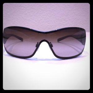 Chanel Metallic Black Camellia Sunglasses